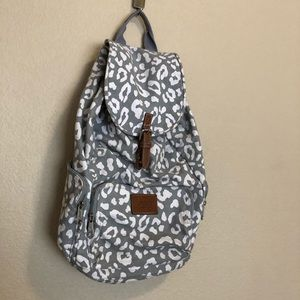PINK Gray Leopard Drawstring Backpack